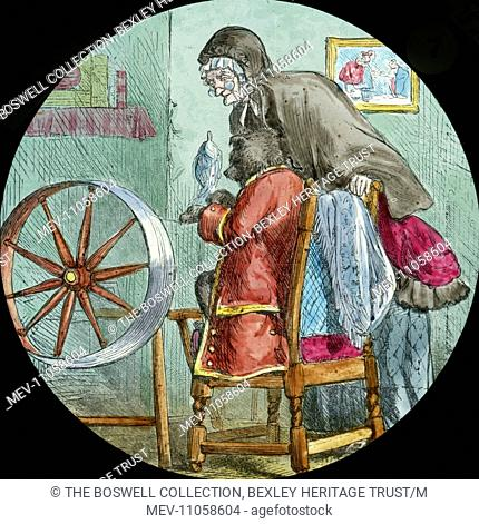 (He really was spinning) at the spinning wheel - Dog weaving red coat sitting at spinning wheel. Part of Box 52 Boswell collection. Nursery Rhymes
