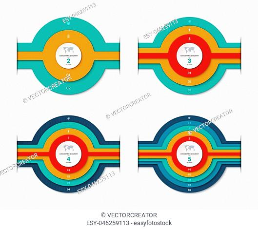 Concentric circles diagram for infographics . Set of vector banners with 2, 3, 4, 5 options, layers, stages. Can be used for graph, chart, report