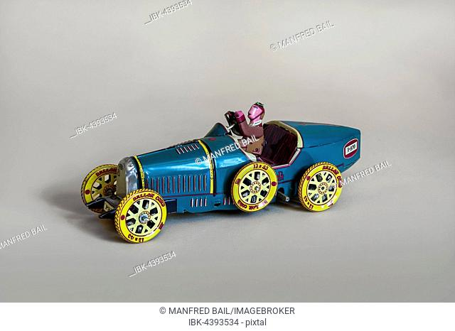 Tin toys, Bugatti race car with driver, Germany