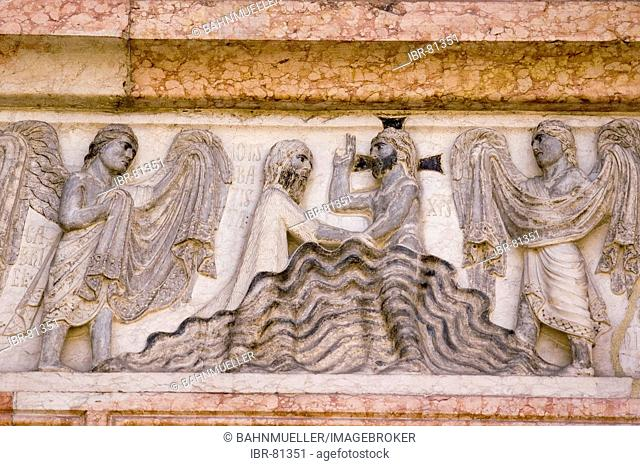 Parma Emilia Romagna Italy Piazza del Duomo relief at the baptistry from Benedetto Antelami baptism of Jesus Christ in the Jordan