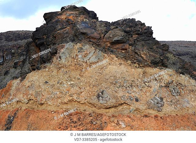 Volcanic material overlay. This photo was taken in Fataga, Gran Canaria, Canary Islands, Spain