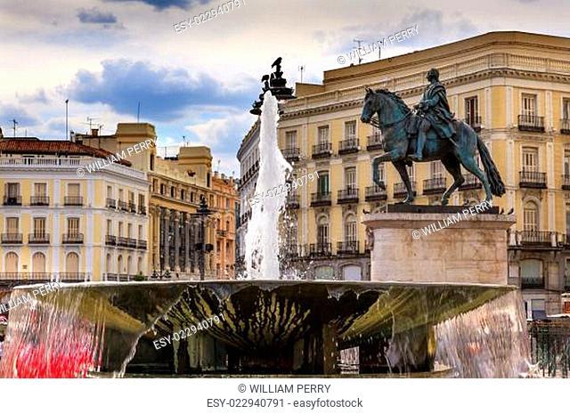 Puerta del Sol Gateway of the Sun Plaza Square Fountain King Carlos III Equestrian Statue Madrid Spain