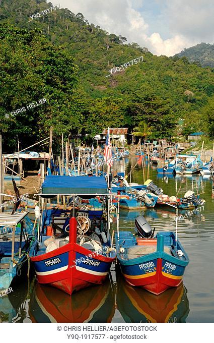 Colourful Fishing Boats in Port of Telok Bahang Fishing Village Penang Malaysia
