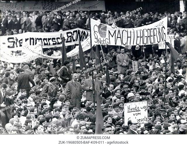 May 05, 1968 - Mass Protest against emergency-laws: Some 60,000 people took part on a demonstration in Bonn today to protest against the special ;laws for...