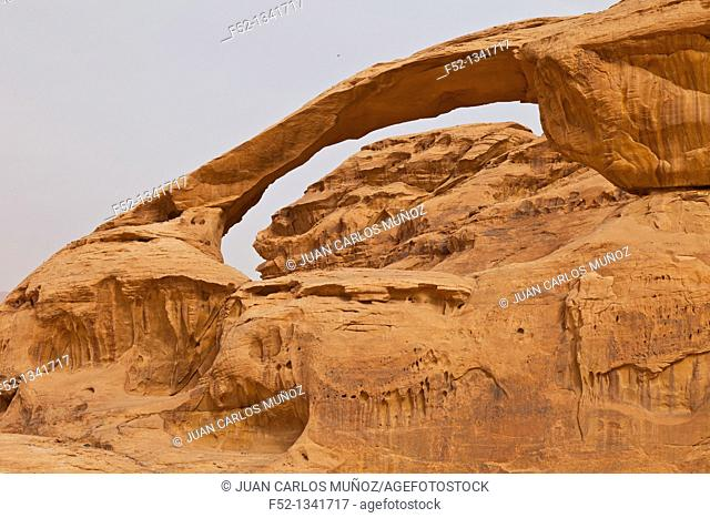 Natural arch in Al Harazah, Wadi Rum, Jordan, Middle East