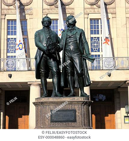 Monument to Schiller and Goethe. Weimar. Germany