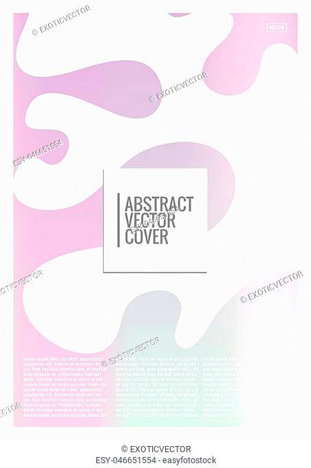 Holographic cover. Iridescent geometric minimal brochure. Holo retro background. Foil simple flyer. Exotic plants backdrop. Fun fluid backdrop