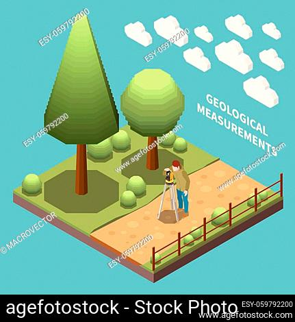 Geology earth exploration isometric composition geologist at work measuring something with special instruments vector illustration