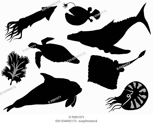 set of silhouettes of sea animals
