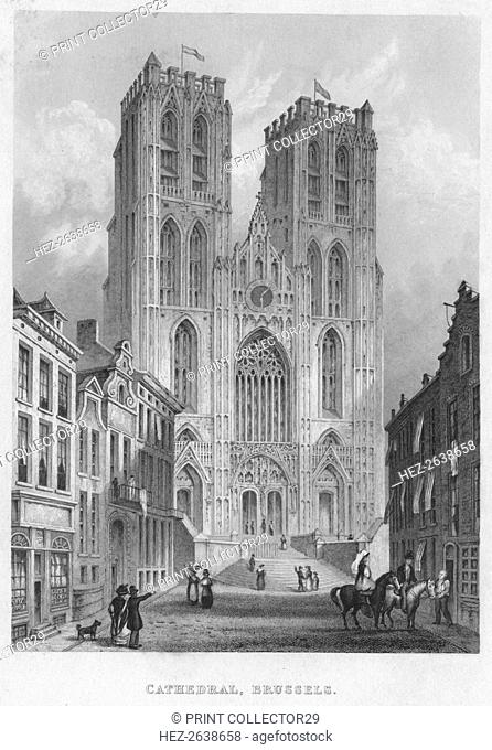 'Cathedral, Brussels', 1850. Artist: Shury & Son