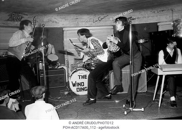 The French rock band Les Windings on the stage of the Golf-Drouot in Paris. Gérard Blanc on left. 1963 Photo André Crudo
