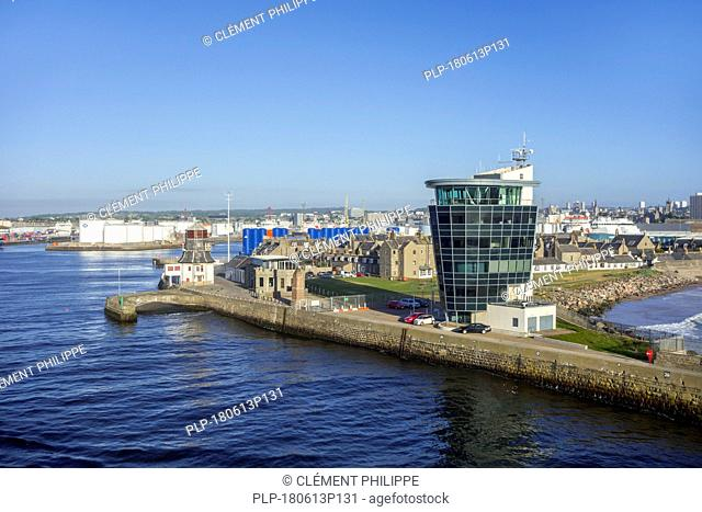 Marine Operations Centre and old harbour master's control tower at entrance to the Aberdeen port, Aberdeenshire, Scotland, UK