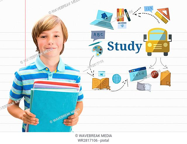 Young boy school with books and Study text with education drawings graphics