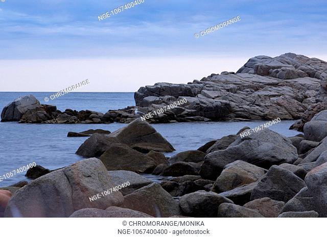 Rock formations on the coast nearTossa de Mar in the evening light, Costa Brava, Comarca La Selva, Province Girona, Catalonia, Spain, Europe