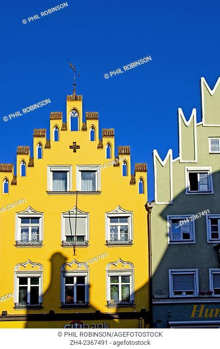 Landshut, Bavaria, Germany. House / shop facades on Altstadt - the main street