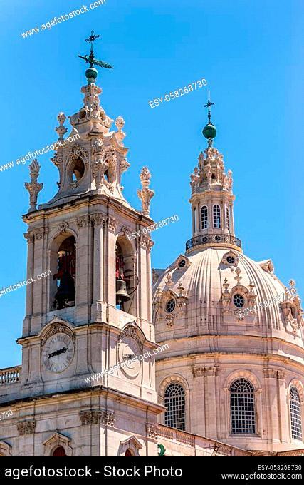 Detail view of the Estrela church - Basilica da Estrela (Royal Basilica and Convent of the Most Sacred Heart of Jesus, 1790) - basilica and ancient Carmelite...