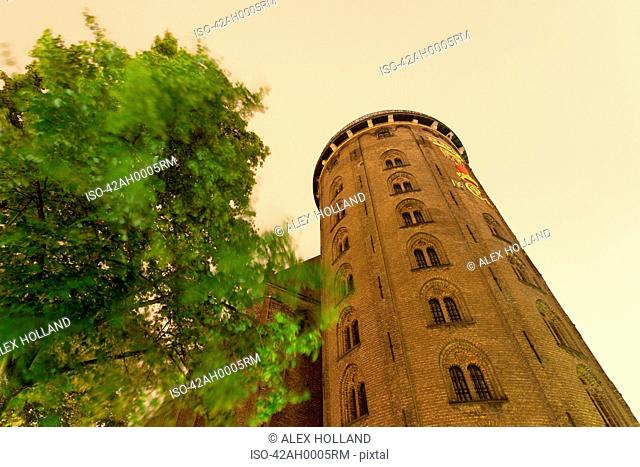 Low angle view of village tower