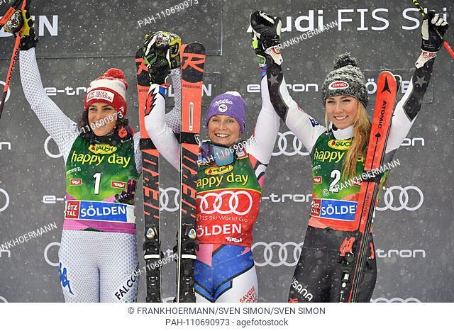 v.li:Federica BRIGNONE (ITA), Tessa WORLEY (FRA), Mikaela SHIFFRIN (USA), Award Ceremony, Flower Ceremony, jubilation, Joy, Enthusiasm, Giant Slalom Ladies