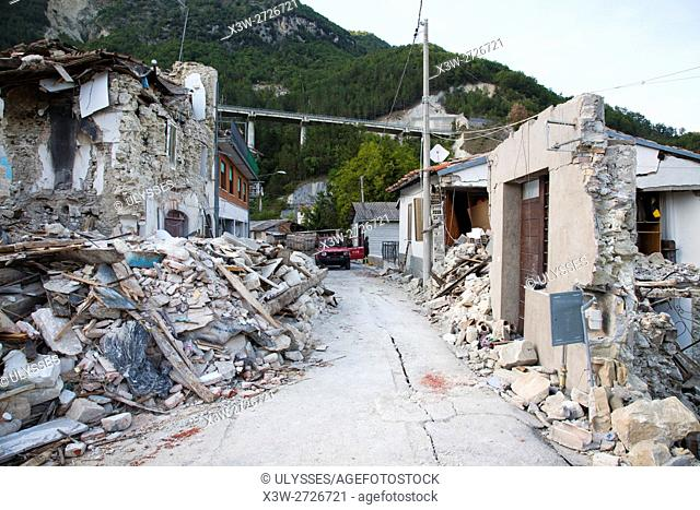 Europe, Italy, Marche, Pescara del Tronto, earthquake of August 24th 2016