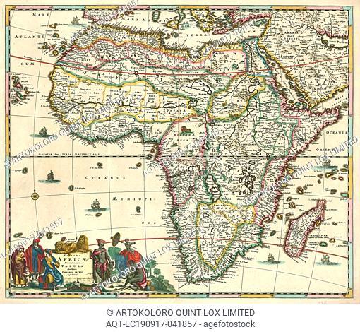 Map, Totius Africae accuratissima tabula, Frederick de Wit (1630-1706), Copperplate print