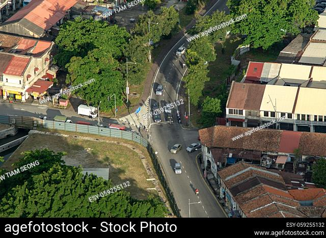 George Town, Penang/Malaysia - Jun 18 2017: Drone view green tree near the heritage house