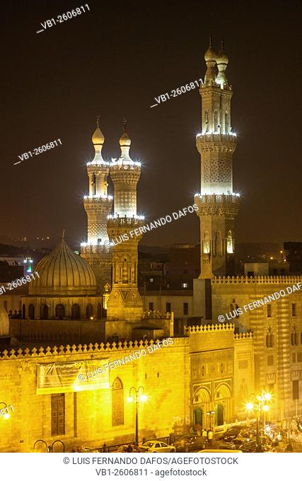 Al-Azhar mosque illuminated at night. Cairo, Egypt