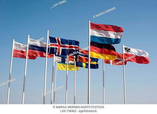 Ensigns of abutting nations round Baltic Sea. Travemuende. Germany