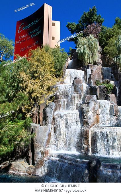 United Statess, Nevada, Las Vegas, water fall of The Wynn casino resort hotel of MG group
