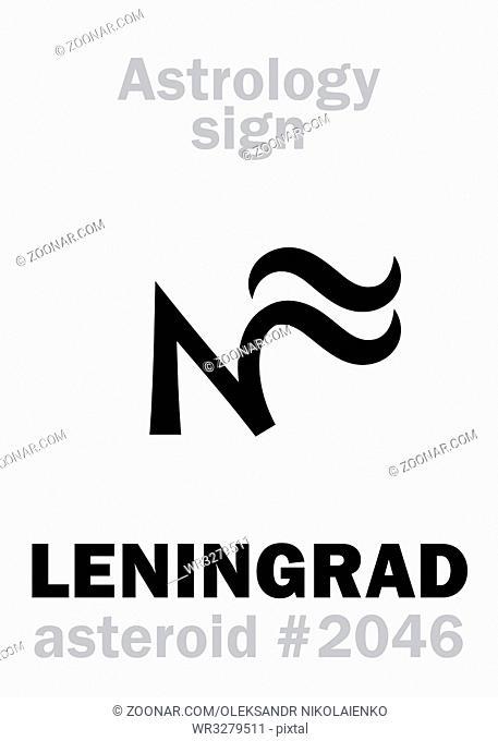 Astrology Alphabet: LENINGRAD, asteroid #2046. Hieroglyphics character sign (single symbol)