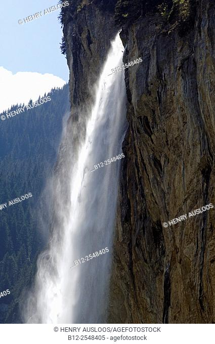 Switzerland, Alps, Cascade at the foot of Jungfrau