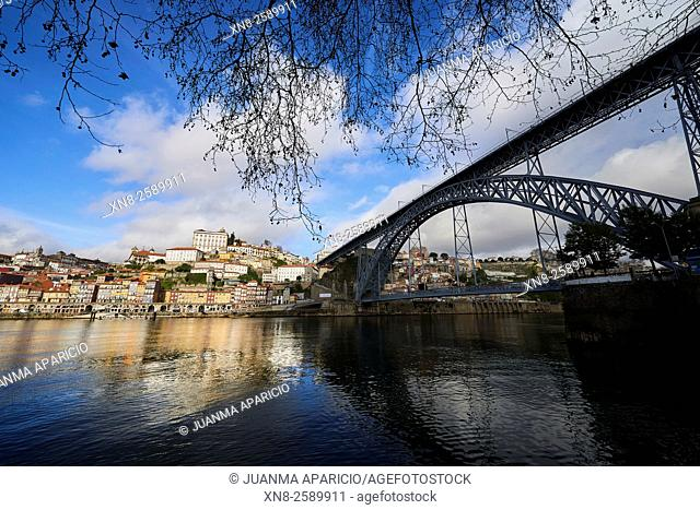 Old Town of Porto and View of the Bridge Luis I, Porto, Portugal, Europe