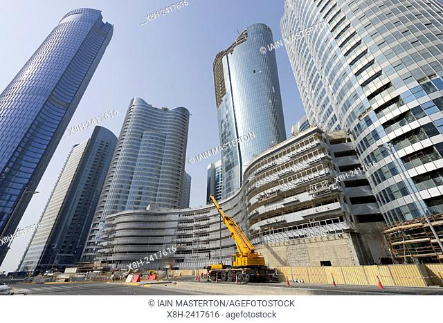 Construction of new high-rise buildings on Al Reem Island in Abu Dhabi United Arab emirates