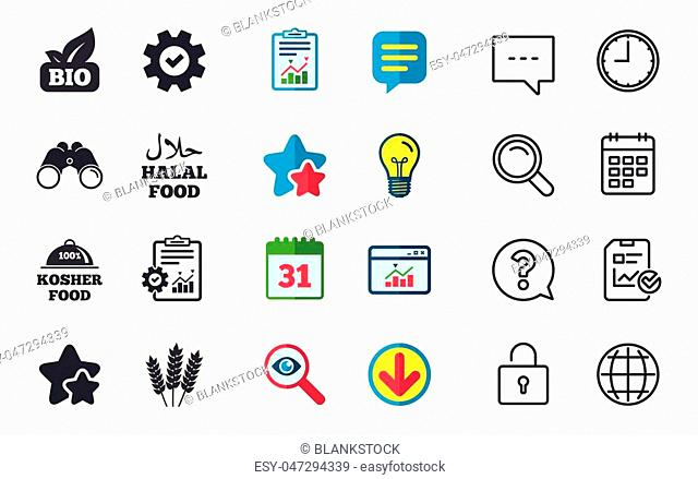 Natural Bio food icons. Halal and 100% Kosher signs. Gluten free agricultural symbol. Chat, Report and Calendar signs. Stars, Statistics and Download icons