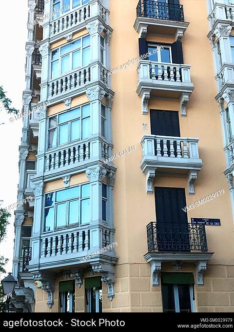 Facade of house. Don Ramon de la Cruz street, Madrid, Spain