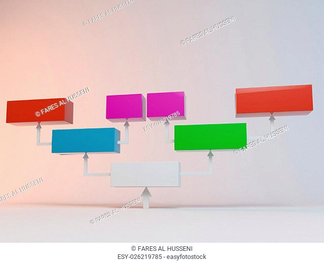 Colorful cubes with arrows 3D to place information inside