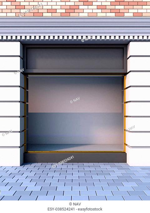 3D illustration of a classical empty storefront with the day lighting