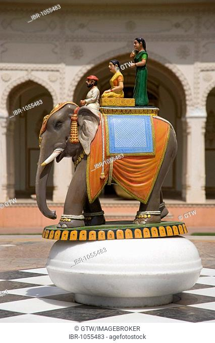 Elephant statue in a courtyard, Jaipur, Rajasthan, India, South Asia