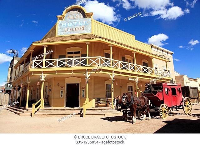 Grand Palace Hotel and Saloon with a horse carriage in Old Tucson Studio. Tucson. Arizona. USA