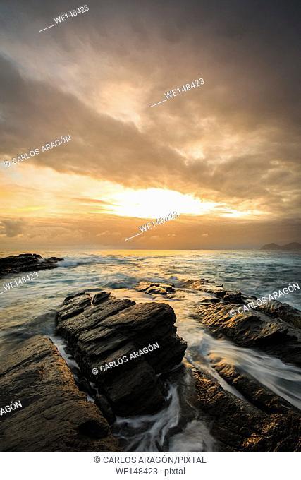 Sunrise in coast of Castro Urdiales, Cantabria