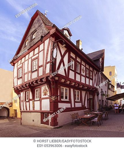 Half-timbered architecture on the Middle Rhine in Boppard. Rhineland-Palatinate, Germany, Europe