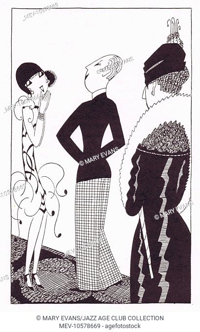 Art deco illustration by Fish, 1927 (caption / context: 'shall I be a silly-billy' he cooed. 'And let you have it vewy, vewy