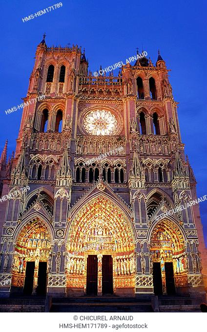 France, Somme, Amiens, Notre-Dame d'Amiens Cathedral, listed as World Heritage by UNESCO, illuminated lighting by Skertzo Co. for Amiens Metropole