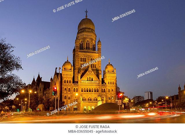 India, Maharastra, Mumbai, Bombay, Dadabhai Naoroji street, public building