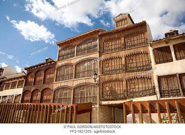 Balconies surrounding the Plaza del Coso in Peñafiel - Peñafiel, Valladolid Province, Castile and León, Spain