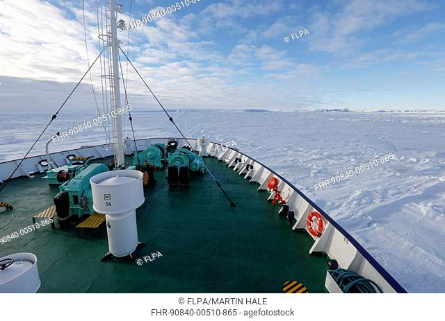MV Ortelius ice-strengthened cruise ship in pack ice at sea, Weddell Sea, Antarctica, November