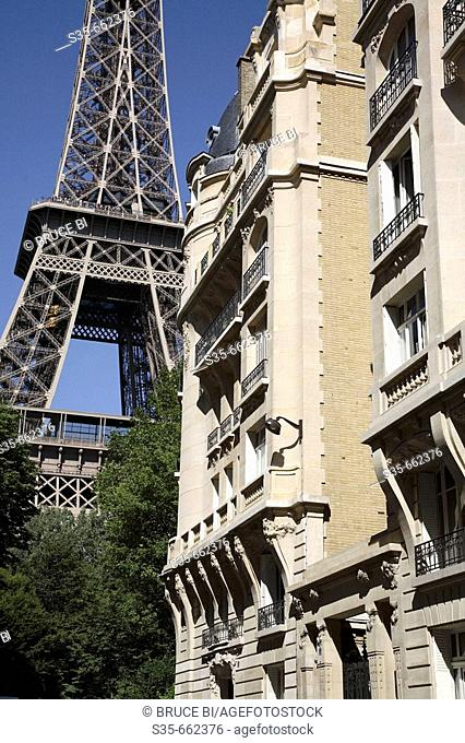 Apartment building with Eiffel Tower in the background. Paris. France