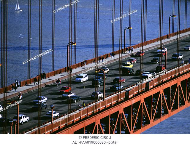 California, San Francsico, section of Golden Gate Bridge with traffic