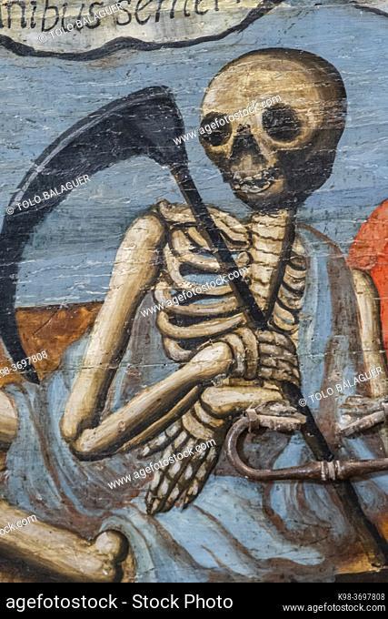 death with scythe, catafalque, dance of death, 16th century, Museo de la Caballada, Church of the Holy Trinity, Atienza, Guadalajara, Spain