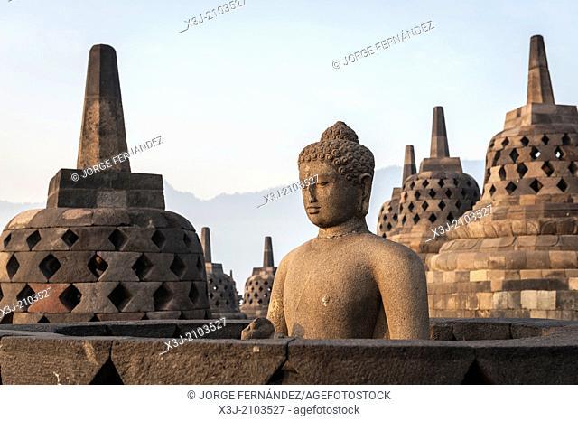 Sunrising over the stupas of the Buddhist temple of Borobudur, Java, Indonesia