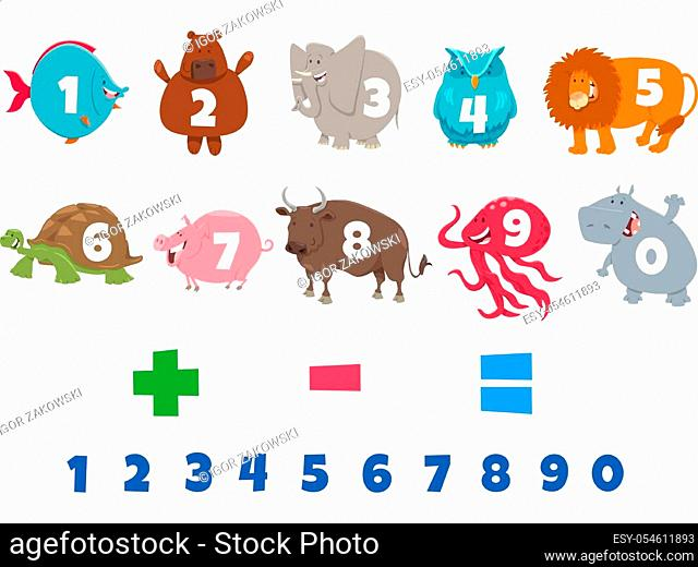 Cartoon Illustration of Numbers Set from One to Nine with Funny Animal Characters